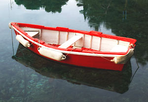 small red boat